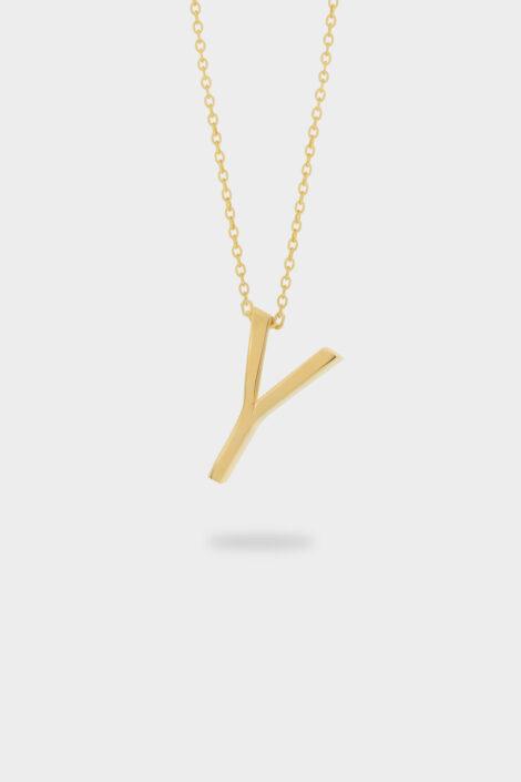 Sarı Altın Y Harfi Kolye