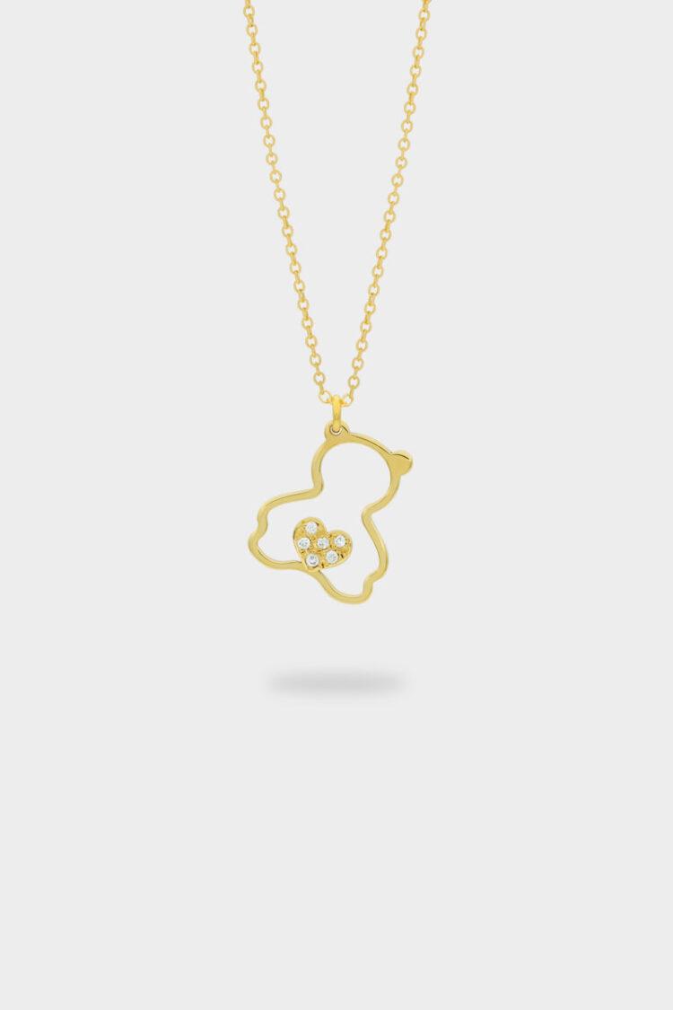 Sarı Altın Pırlanta Taşlı Ayı Figürlü Kolye – 018969