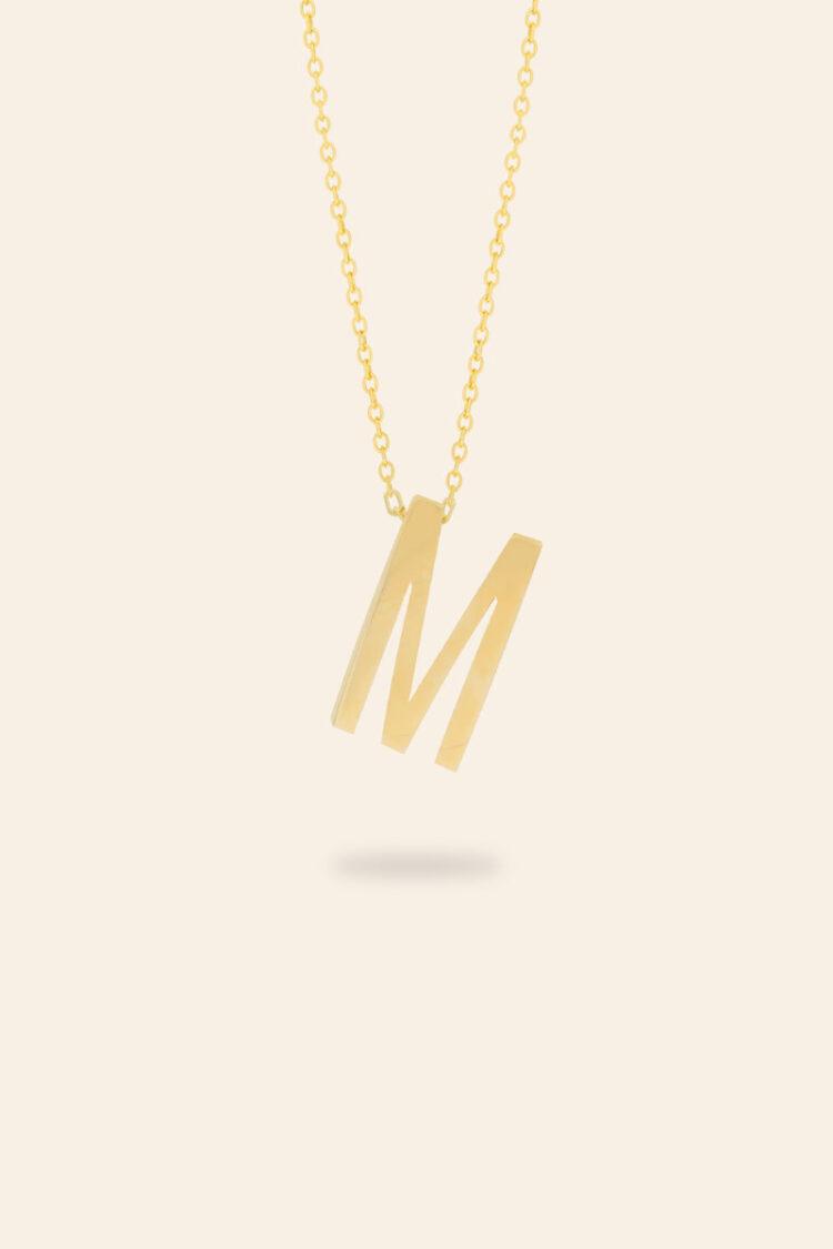 Sarı Altın M Harfi Kolye – T001306